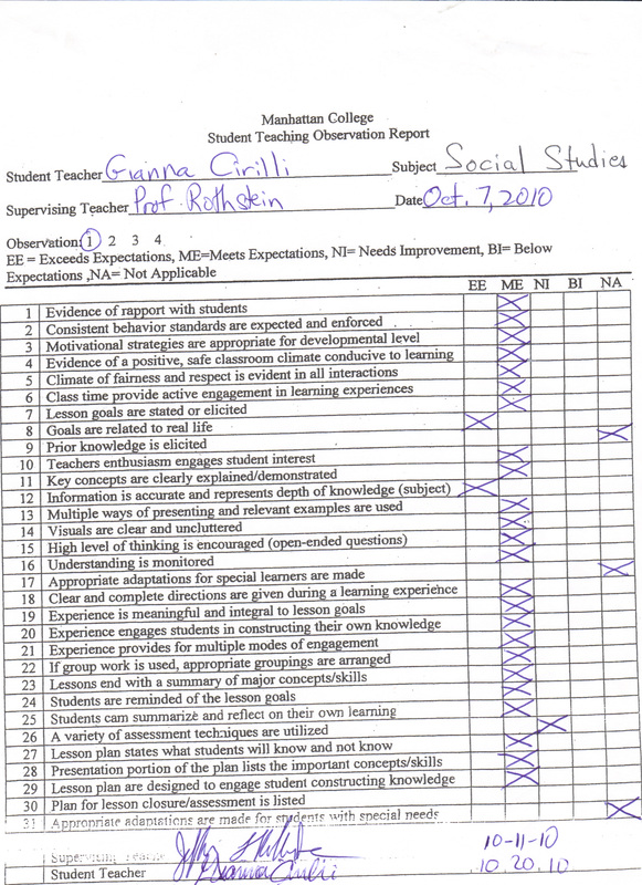 Supervisor Evaluation  Gianna Cirilli Student Teaching Portfolio